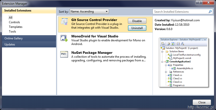 Git Source Control Provider full screenshot